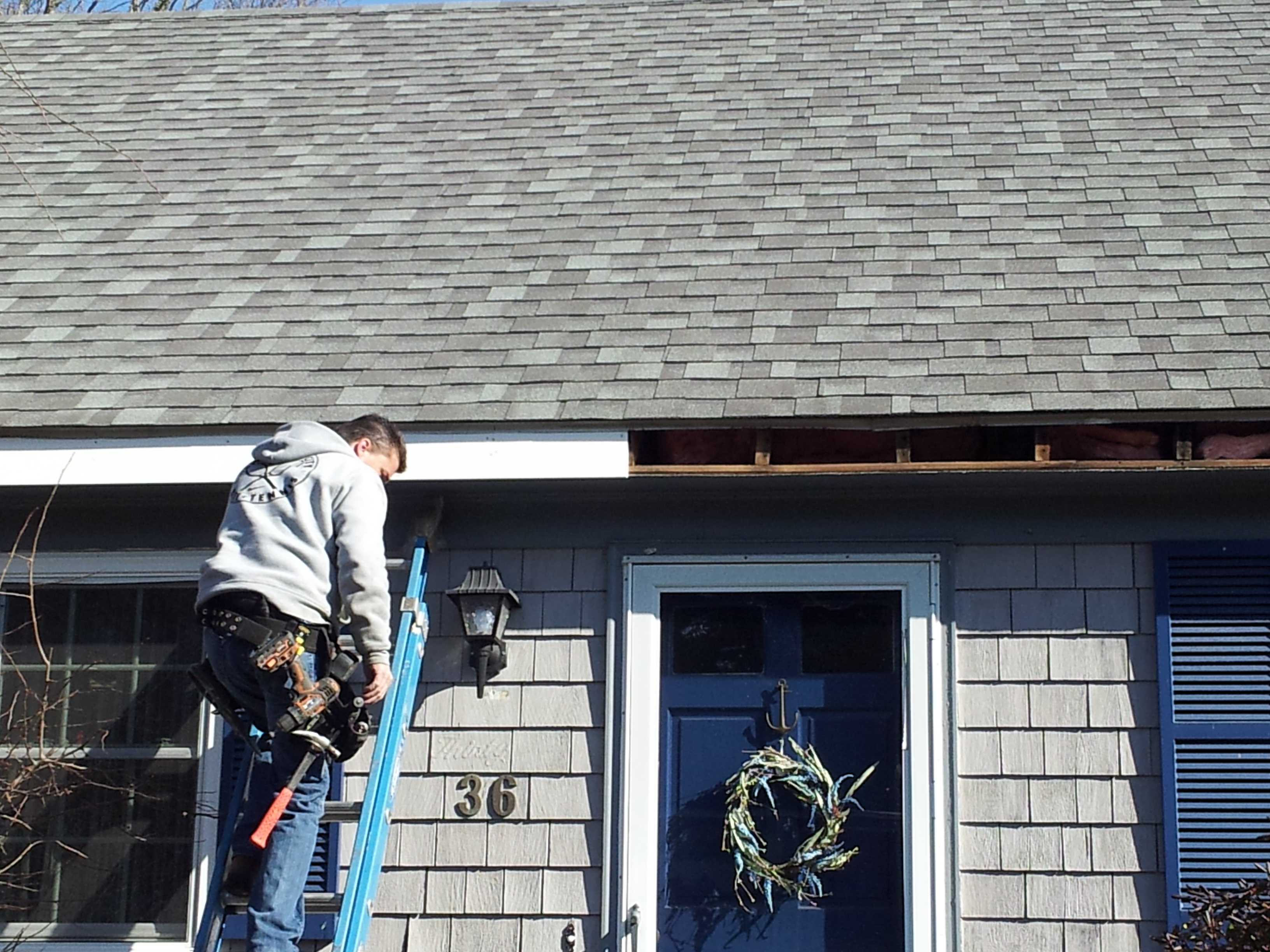 trim replacement – Gutter Pro on the job in Massachusetts
