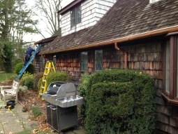 half round copper gutter and downspout